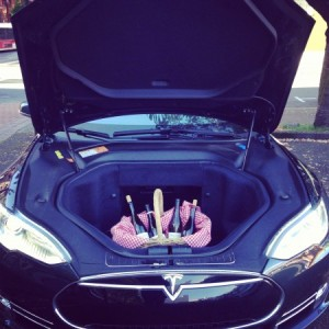 Model S Frunk with wine