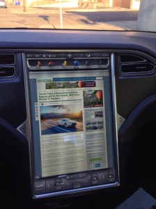 Green Car Reports write up about Tesla Trips being displayed on the Tesla's touchscreen